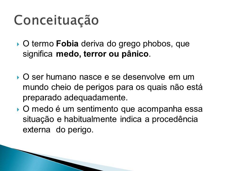 Conceituação O termo Fobia deriva do grego phobos, que significa medo, terror ou pânico.