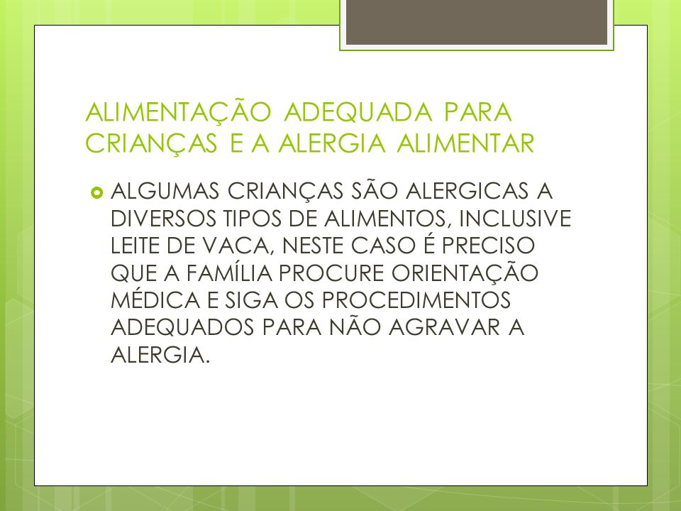 ALIMENTAÇÃO ADEQUADA PARA CRIANÇAS E A ALERGIA ALIMENTAR