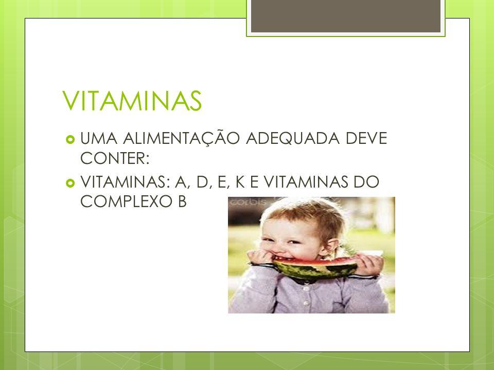 VITAMINAS UMA ALIMENTAÇÃO ADEQUADA DEVE CONTER: