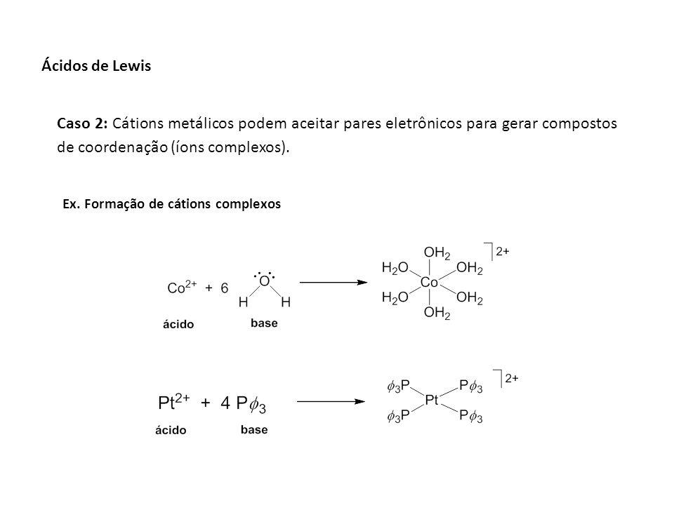Ácidos de Lewis Caso 2: Cátions metálicos podem aceitar pares eletrônicos para gerar compostos de coordenação (íons complexos).
