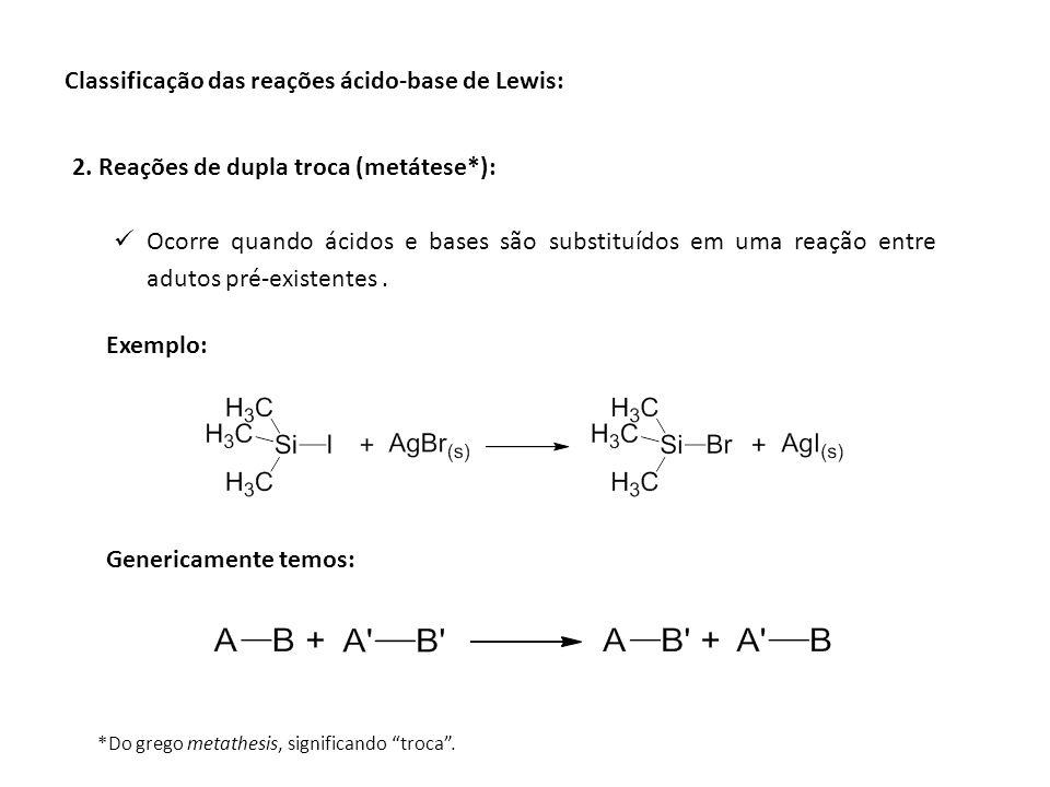 Classificação das reações ácido-base de Lewis: