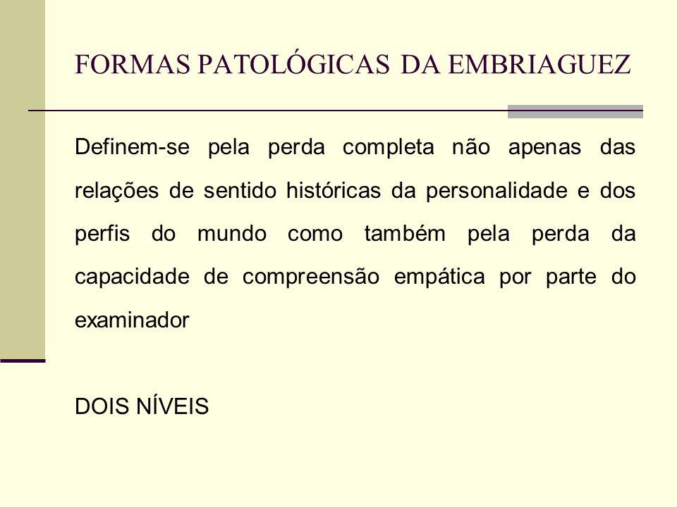FORMAS PATOLÓGICAS DA EMBRIAGUEZ