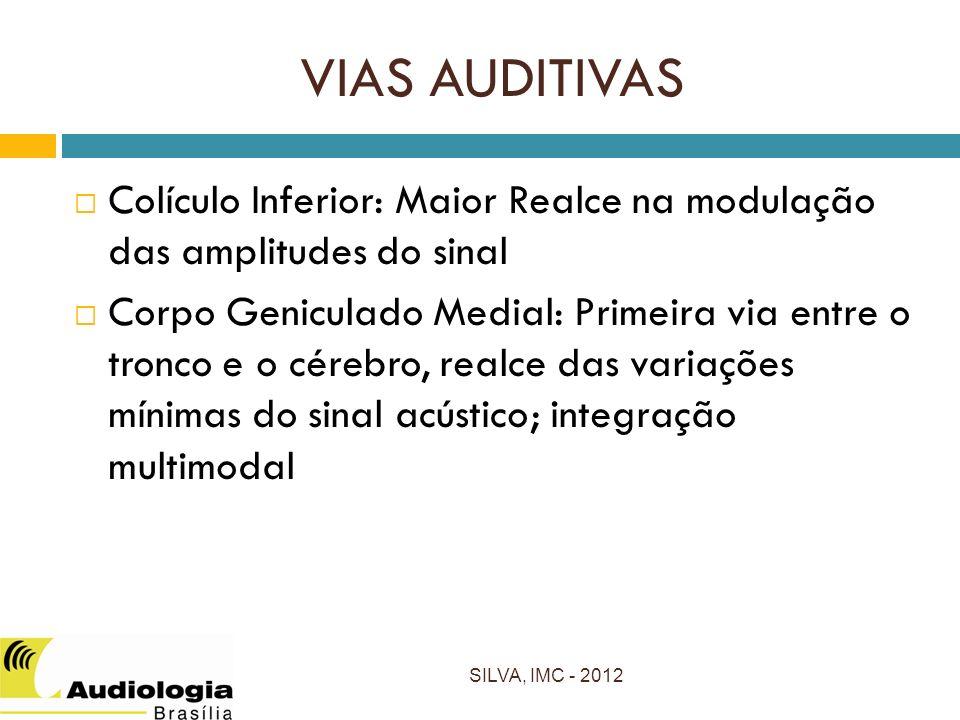 VIAS AUDITIVAS Colículo Inferior: Maior Realce na modulação das amplitudes do sinal.