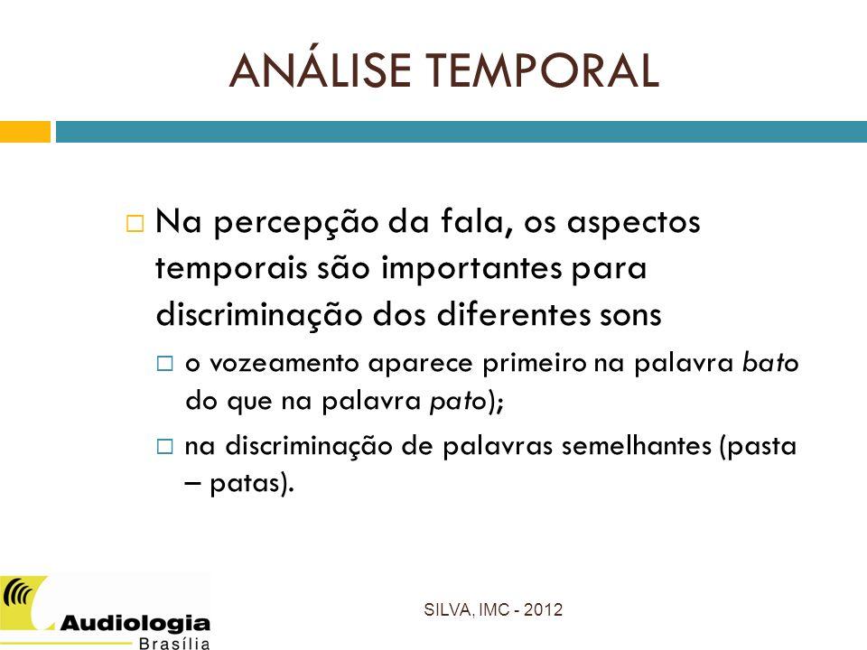 ANÁLISE TEMPORAL Na percepção da fala, os aspectos temporais são importantes para discriminação dos diferentes sons.