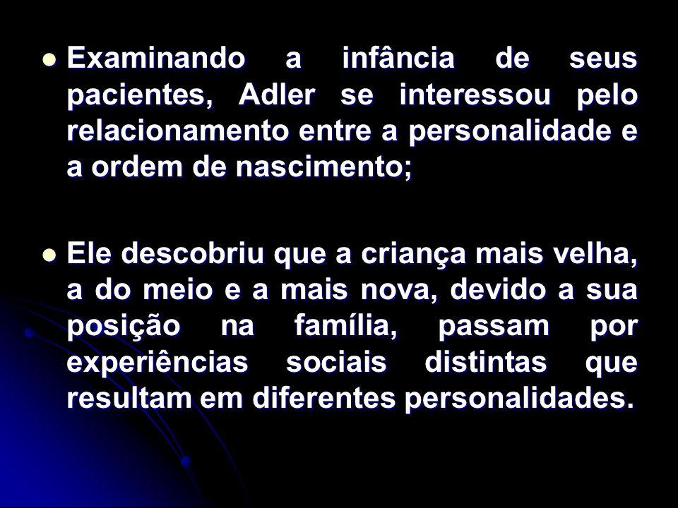 Examinando a infância de seus pacientes, Adler se interessou pelo relacionamento entre a personalidade e a ordem de nascimento;
