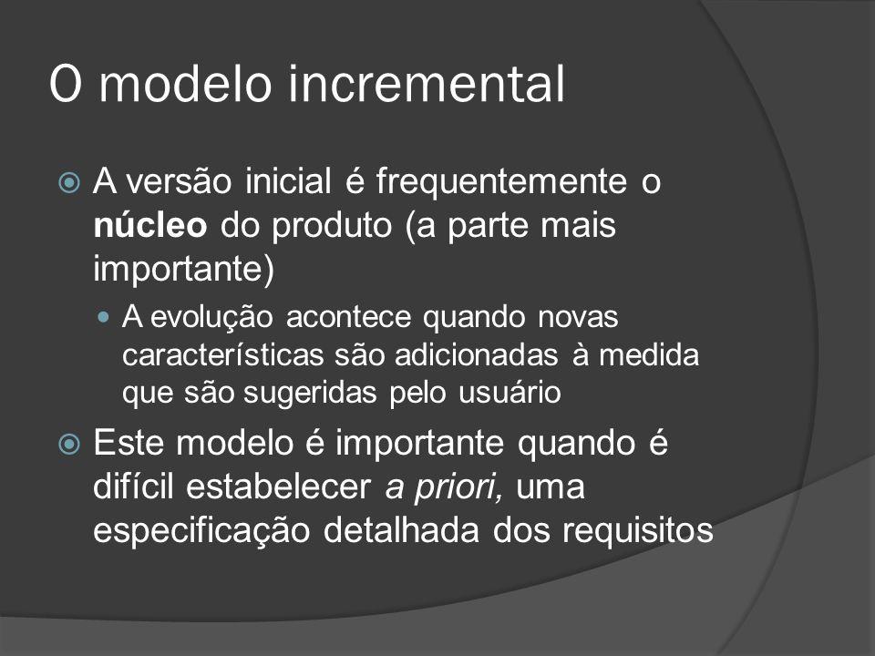 O modelo incremental A versão inicial é frequentemente o núcleo do produto (a parte mais importante)