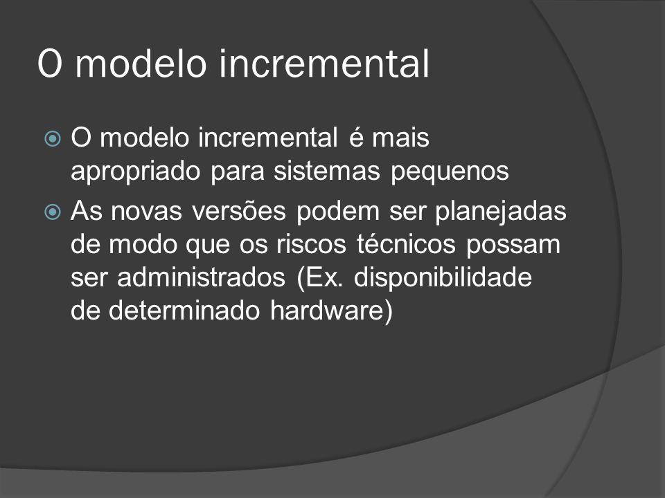 O modelo incremental O modelo incremental é mais apropriado para sistemas pequenos.