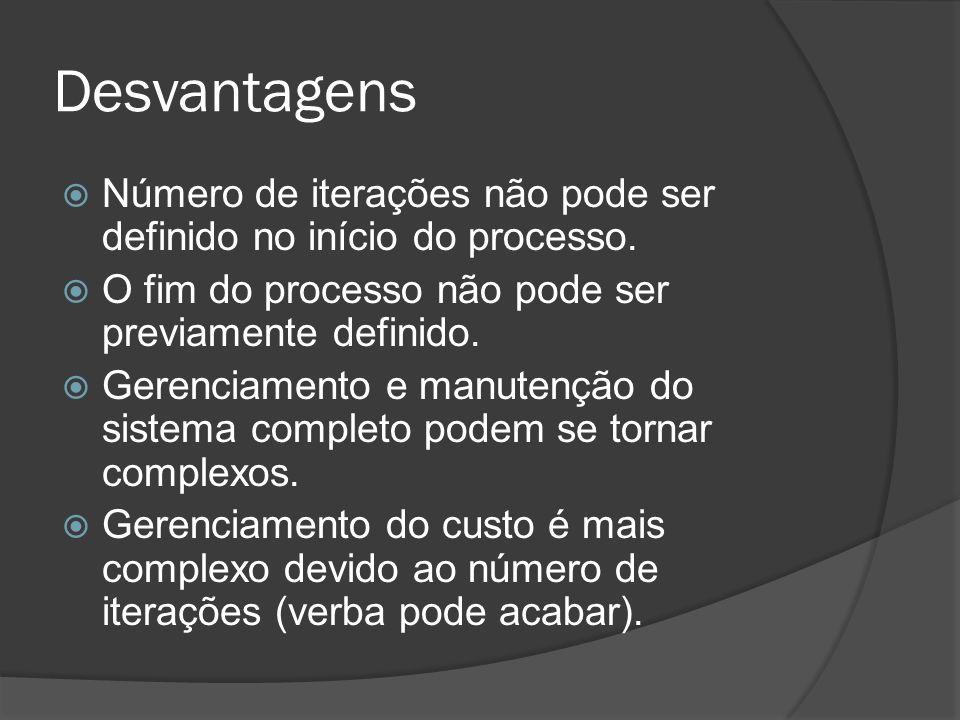 Desvantagens Número de iterações não pode ser definido no início do processo. O fim do processo não pode ser previamente definido.