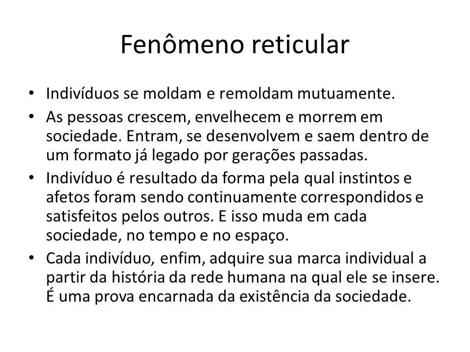 Fenômeno reticular Indivíduos se moldam e remoldam mutuamente.