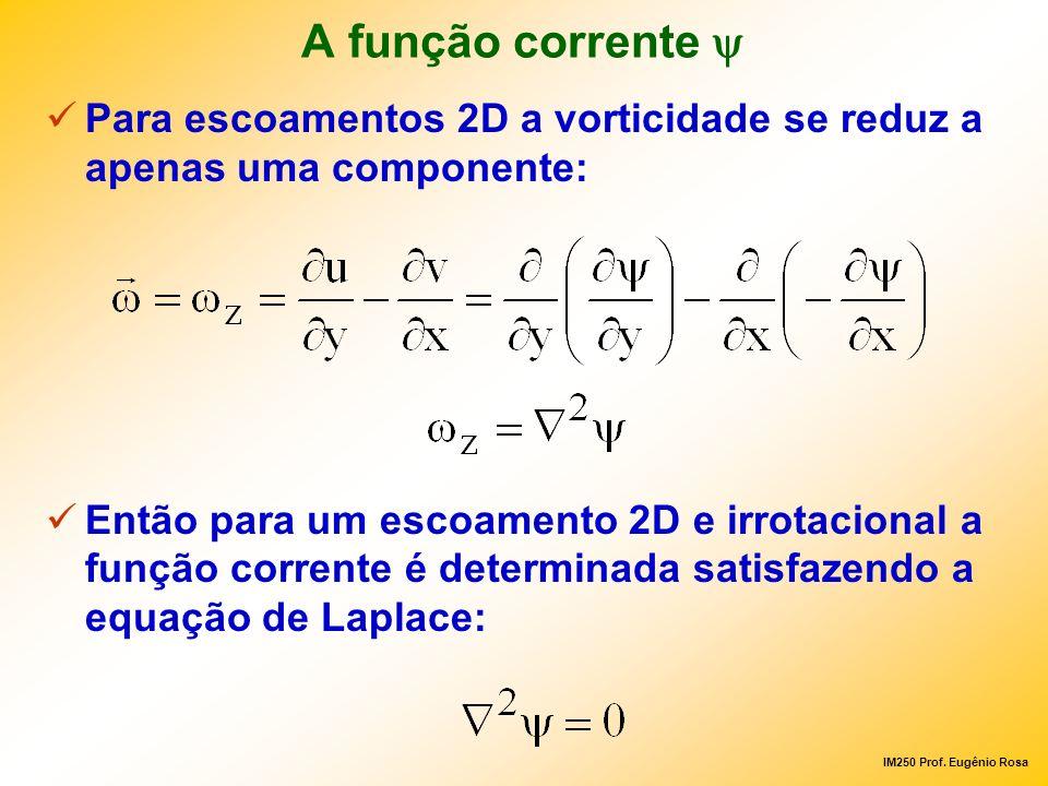 A função corrente y Para escoamentos 2D a vorticidade se reduz a apenas uma componente: