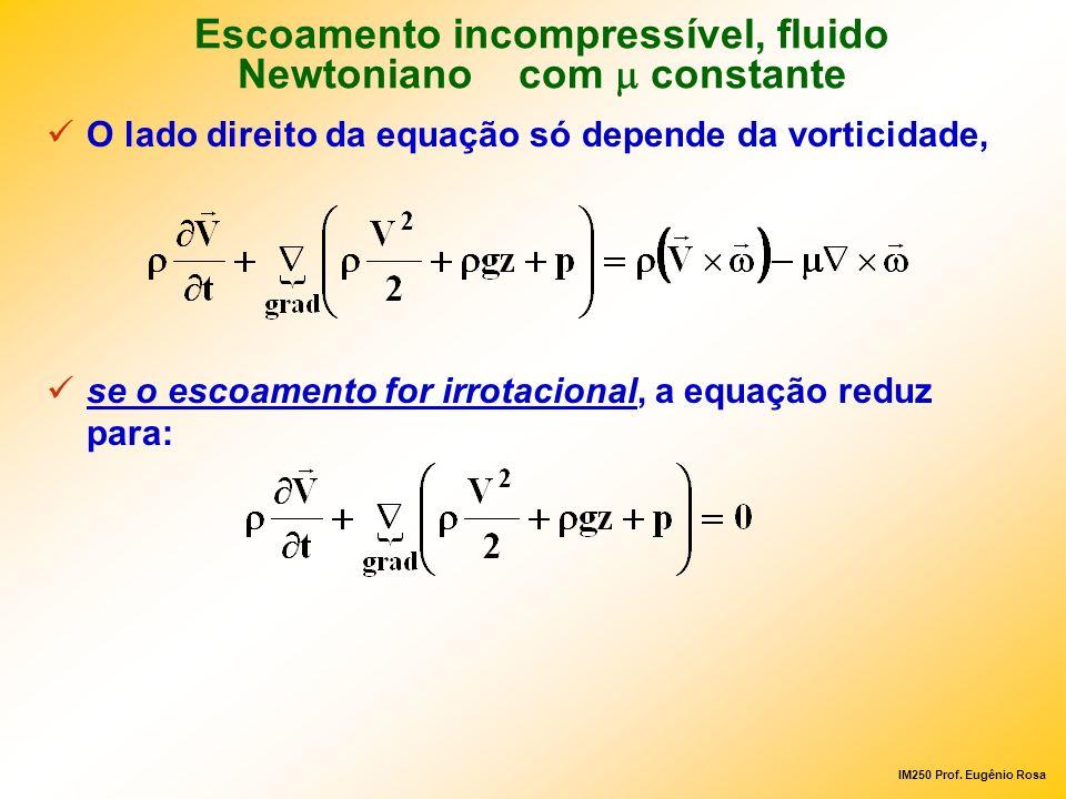 Escoamento incompressível, fluido Newtoniano com m constante