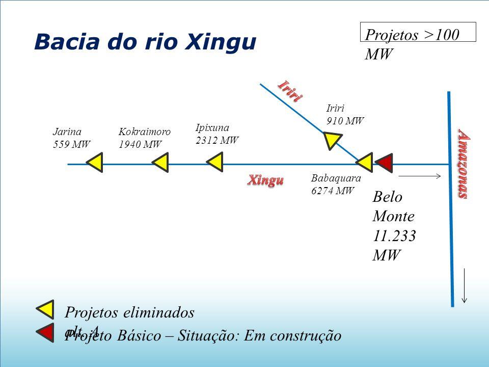 Bacia do rio Xingu Projetos >100 MW Amazonas Belo Monte 11.233 MW
