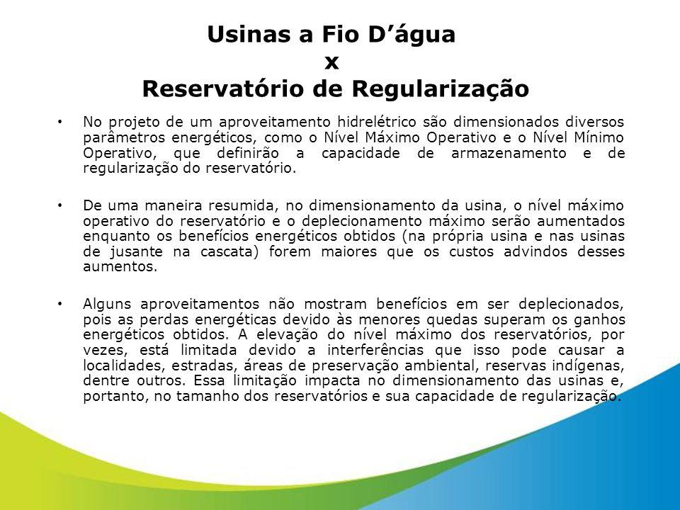 Usinas a Fio D'água x Reservatório de Regularização