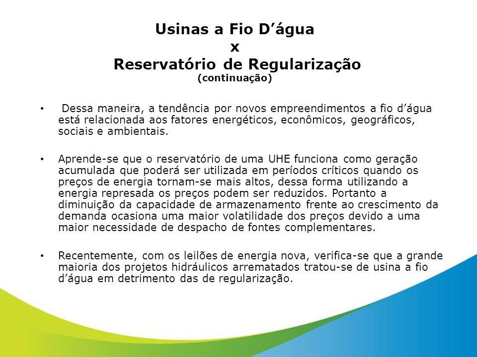 Usinas a Fio D'água x Reservatório de Regularização (continuação)