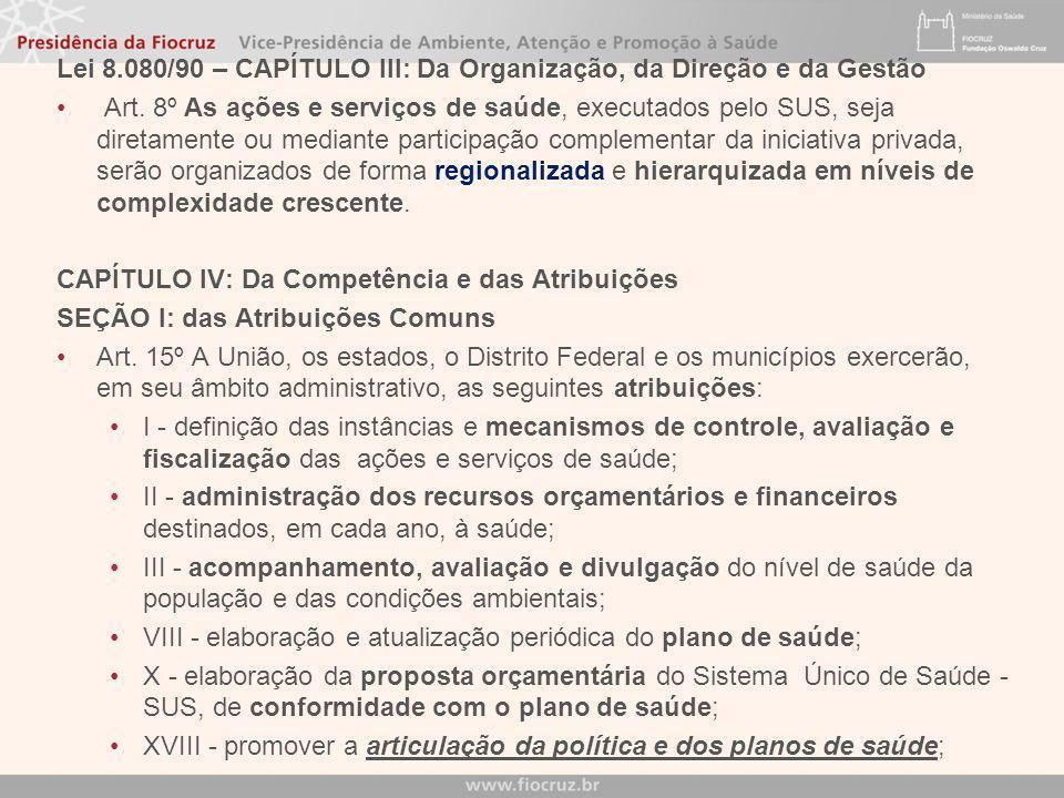 Lei 8.080/90 – CAPÍTULO III: Da Organização, da Direção e da Gestão