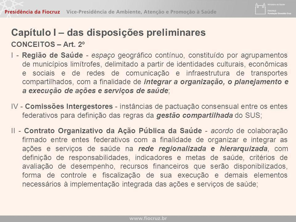 Capítulo I – das disposições preliminares