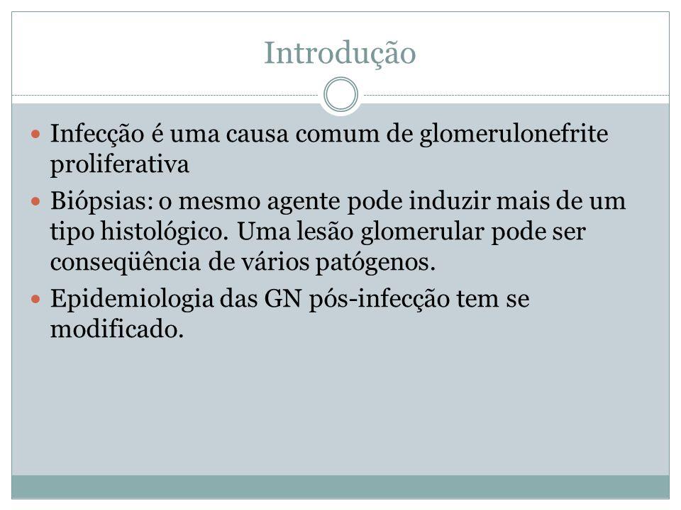 Introdução Infecção é uma causa comum de glomerulonefrite proliferativa.
