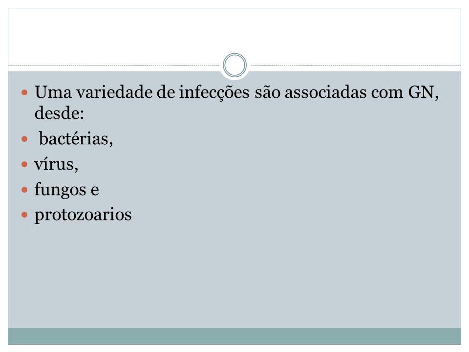 Uma variedade de infecções são associadas com GN, desde: