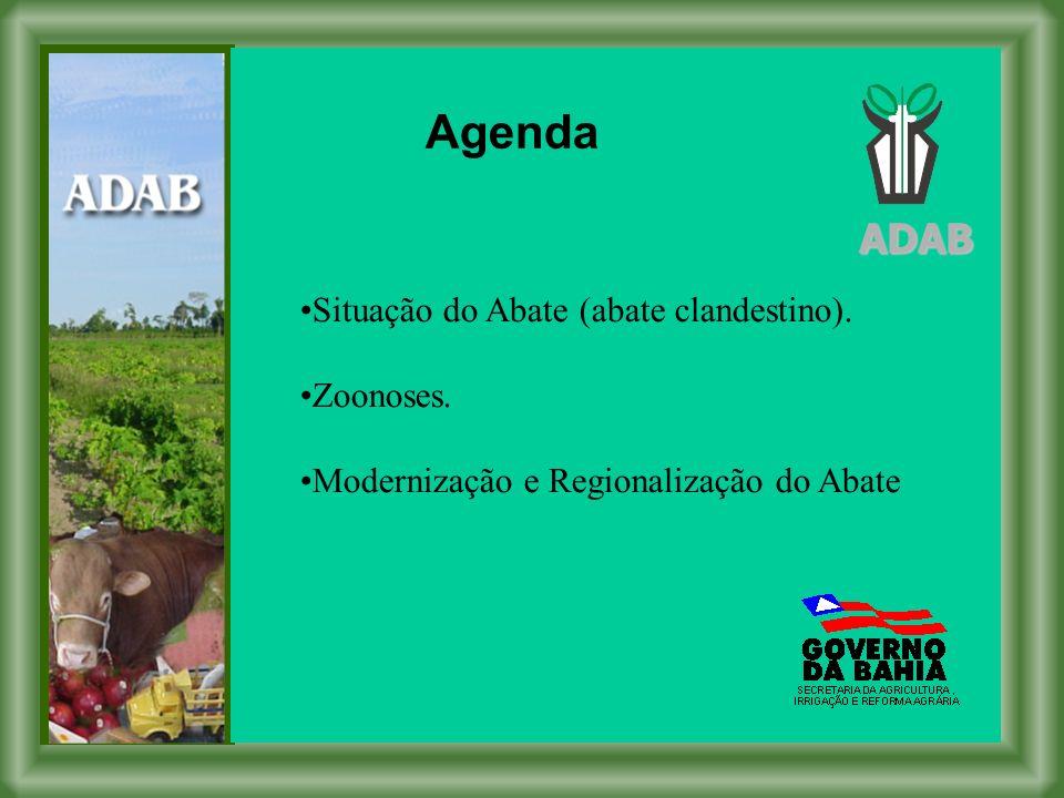 Agenda ADAB Situação do Abate (abate clandestino). Zoonoses.