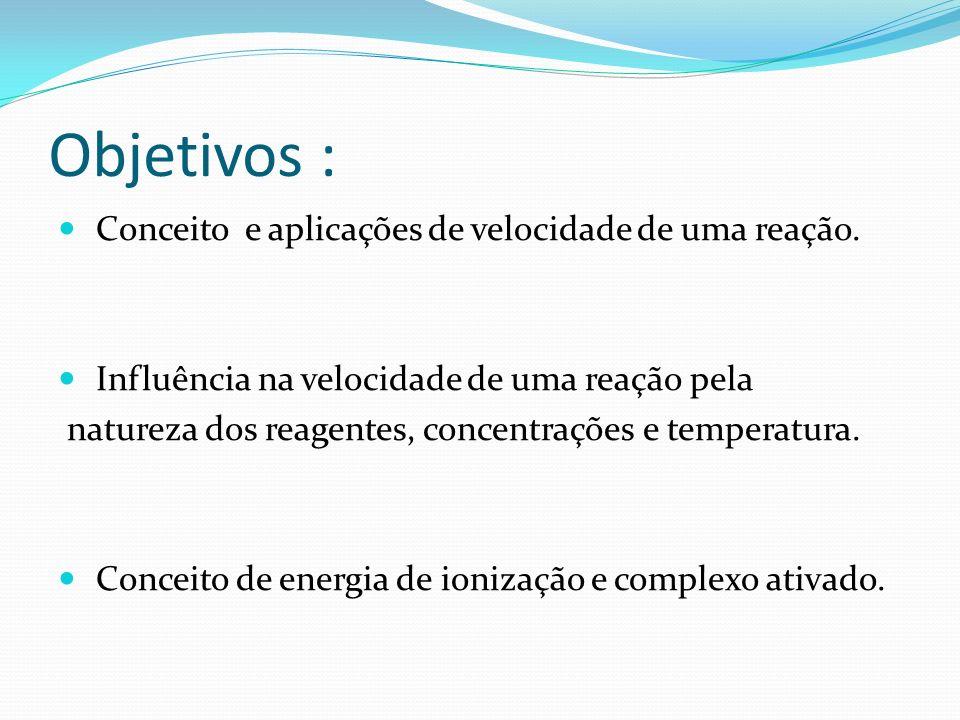 Objetivos : Conceito e aplicações de velocidade de uma reação.