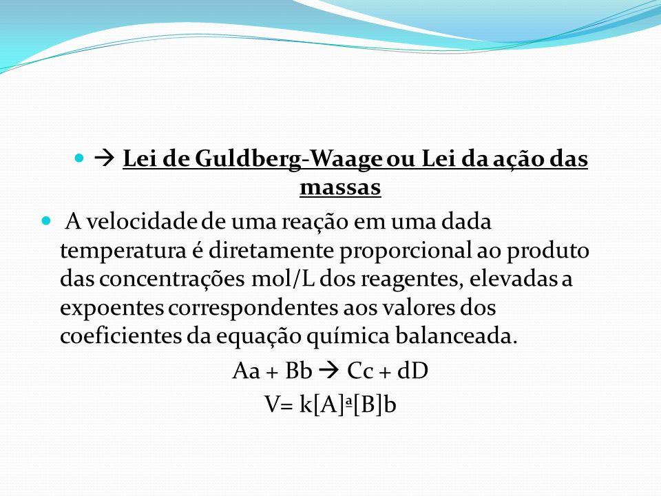  Lei de Guldberg-Waage ou Lei da ação das massas