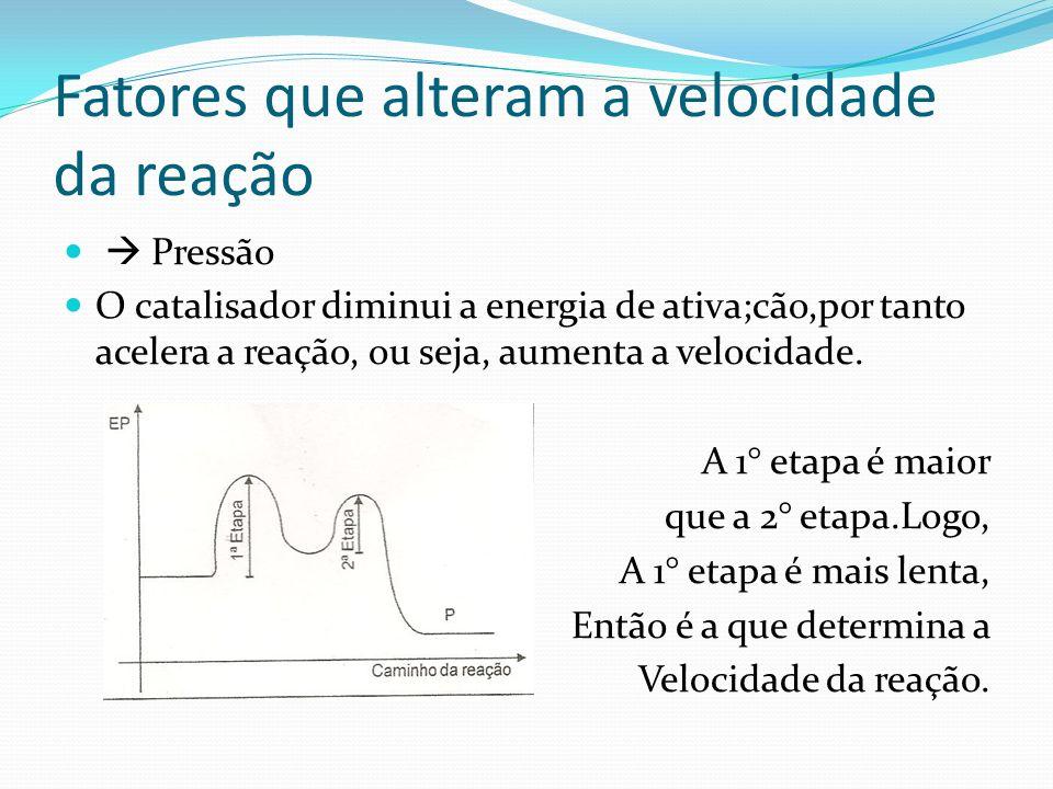 Fatores que alteram a velocidade da reação