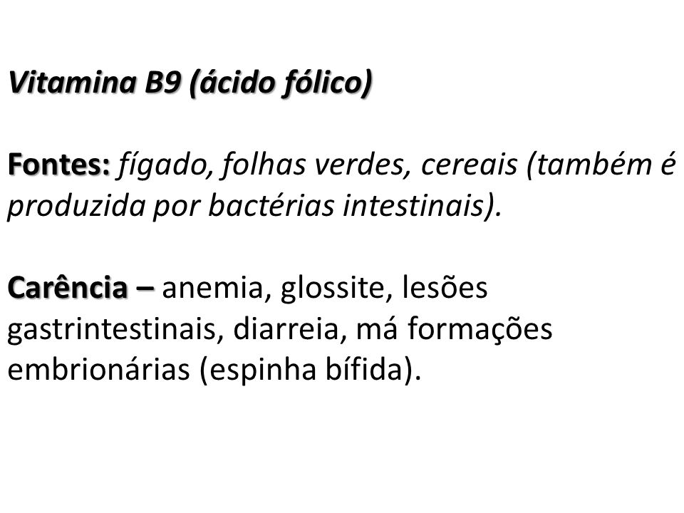 Vitamina B9 (ácido fólico)