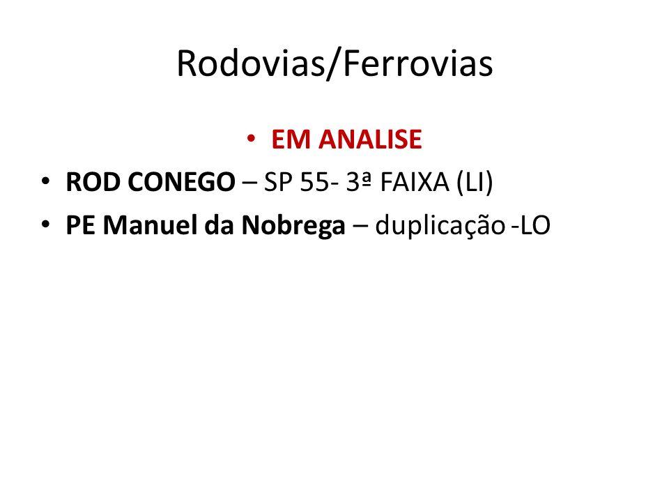 Rodovias/Ferrovias EM ANALISE ROD CONEGO – SP 55- 3ª FAIXA (LI)