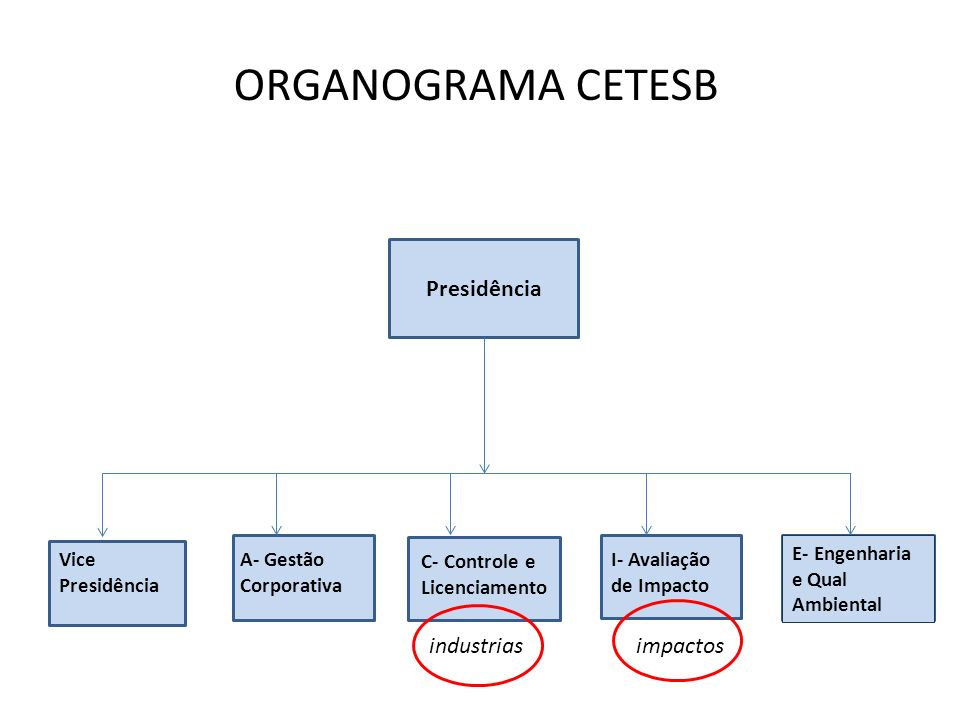 ORGANOGRAMA CETESB Presidência industrias impactos
