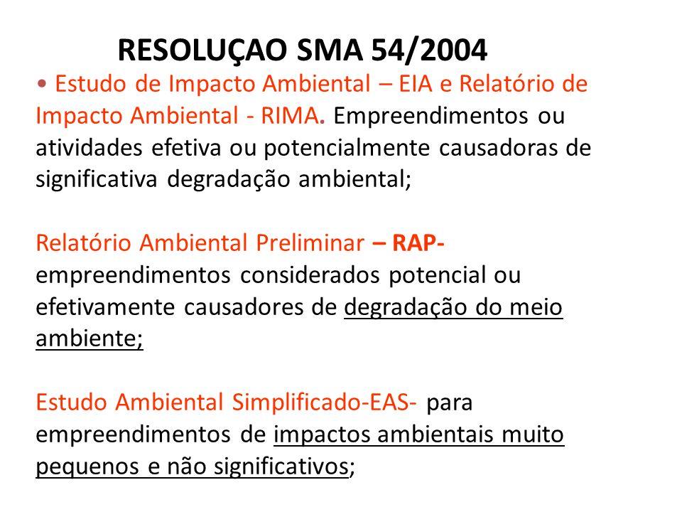 RESOLUÇAO SMA 54/2004
