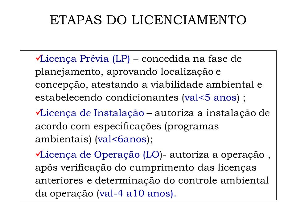 ETAPAS DO LICENCIAMENTO