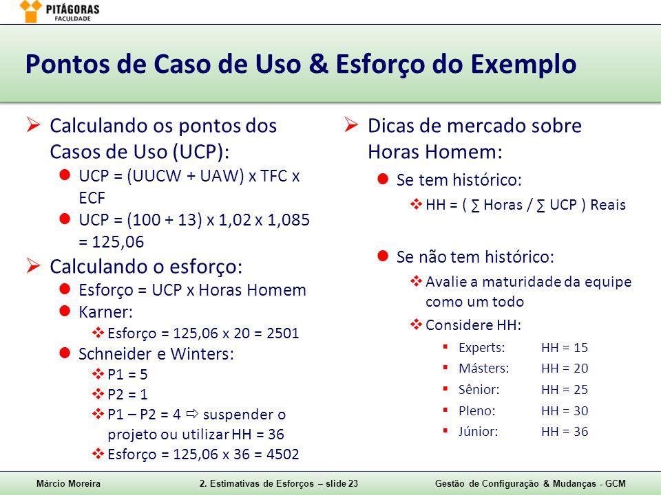 Pontos de Caso de Uso & Esforço do Exemplo