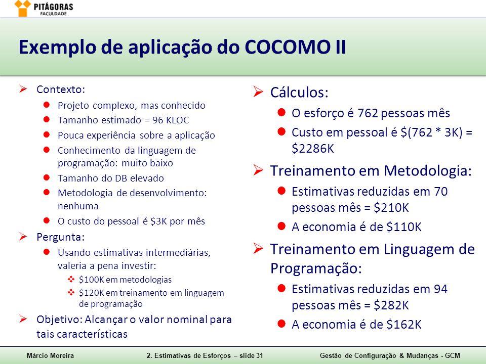 Exemplo de aplicação do COCOMO II