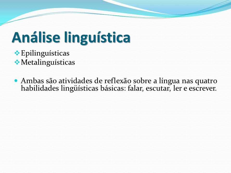 Análise linguística Epilinguísticas Metalinguísticas