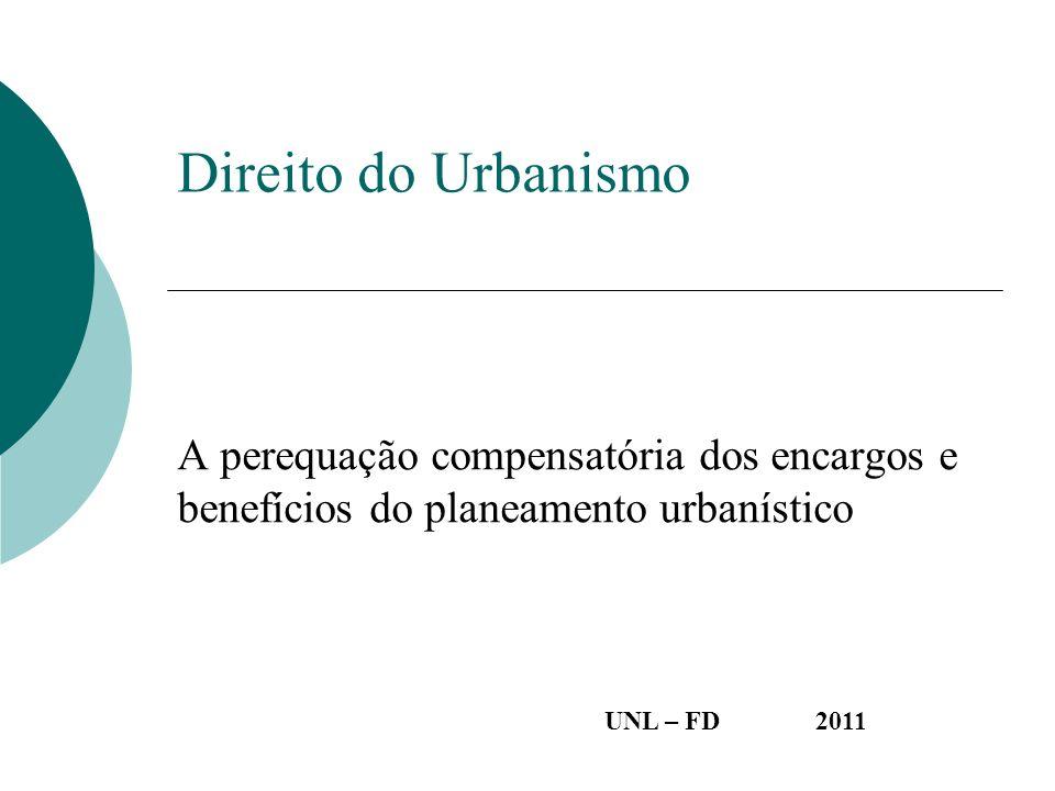 Direito do Urbanismo A perequação compensatória dos encargos e benefícios do planeamento urbanístico.