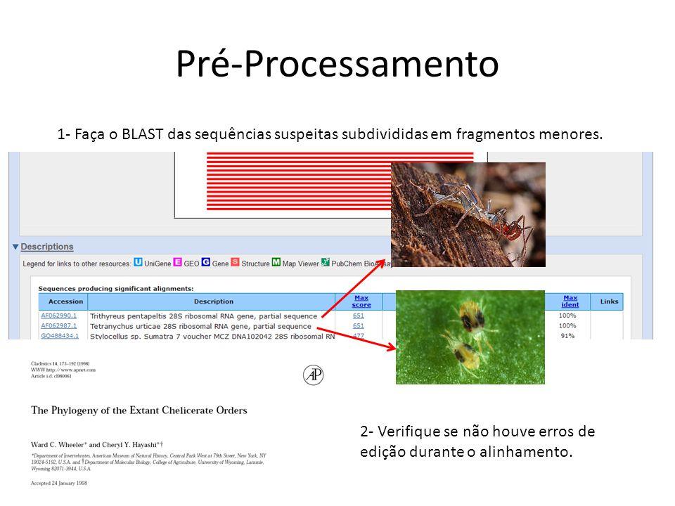 Pré-Processamento 1- Faça o BLAST das sequências suspeitas subdivididas em fragmentos menores.