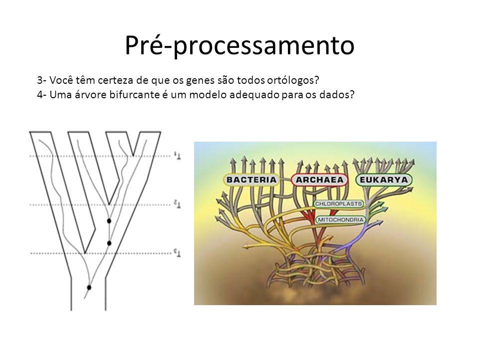 Pré-processamento 3- Você têm certeza de que os genes são todos ortólogos.