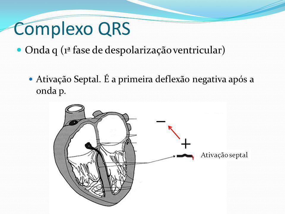 Complexo QRS Onda q (1ª fase de despolarização ventricular)