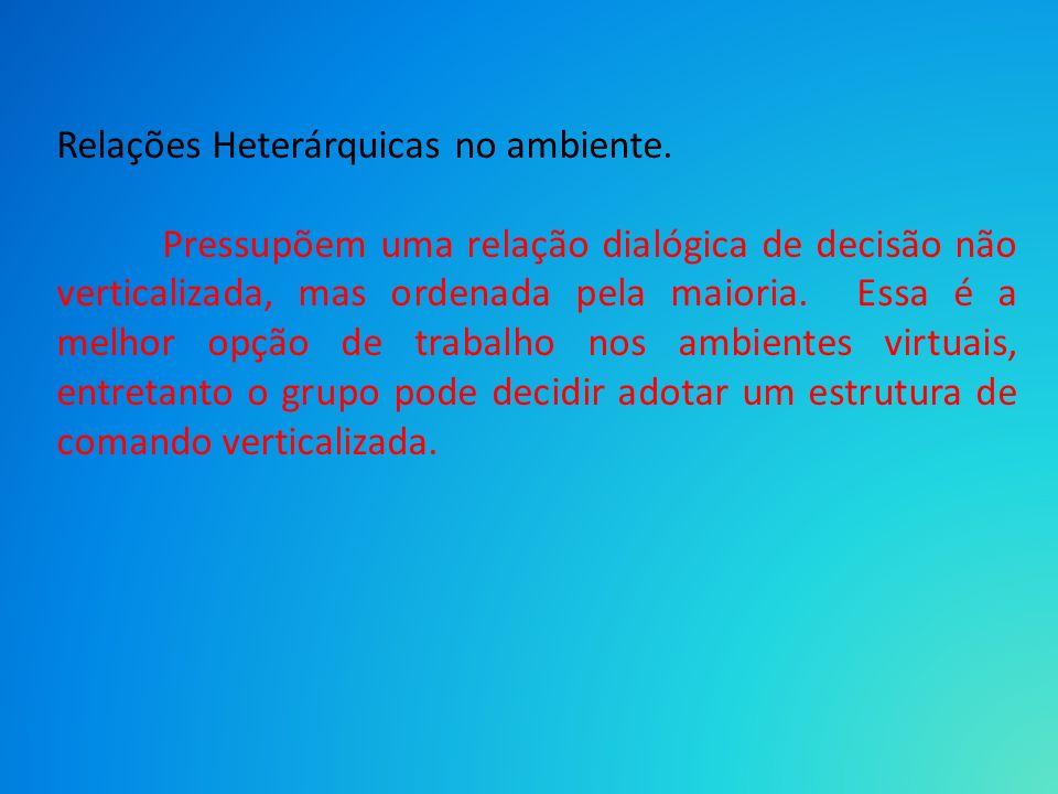Relações Heterárquicas no ambiente.
