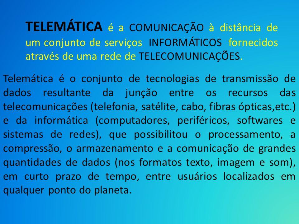 TELEMÁTICA é a COMUNICAÇÃO à distância de um conjunto de serviços INFORMÁTICOS fornecidos através de uma rede de TELECOMUNICAÇÕES.