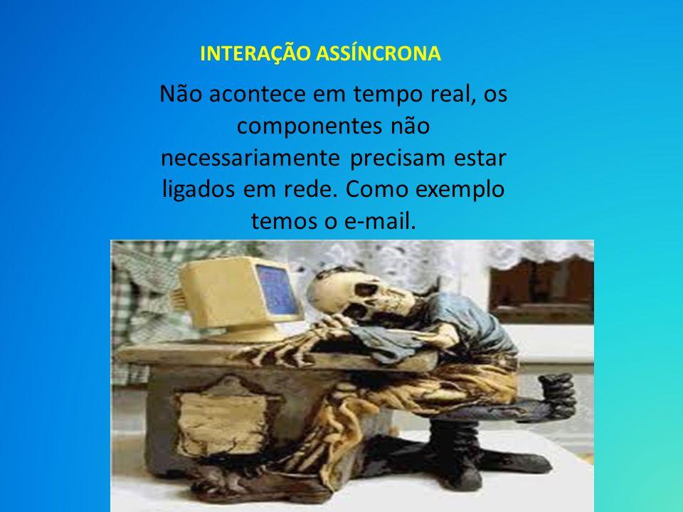 INTERAÇÃO ASSÍNCRONA Não acontece em tempo real, os componentes não necessariamente precisam estar ligados em rede.