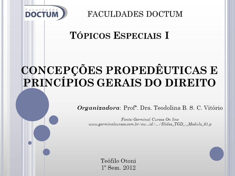CONCEPÇÕES PROPEDÊUTICAS E PRINCÍPIOS GERAIS DO DIREITO