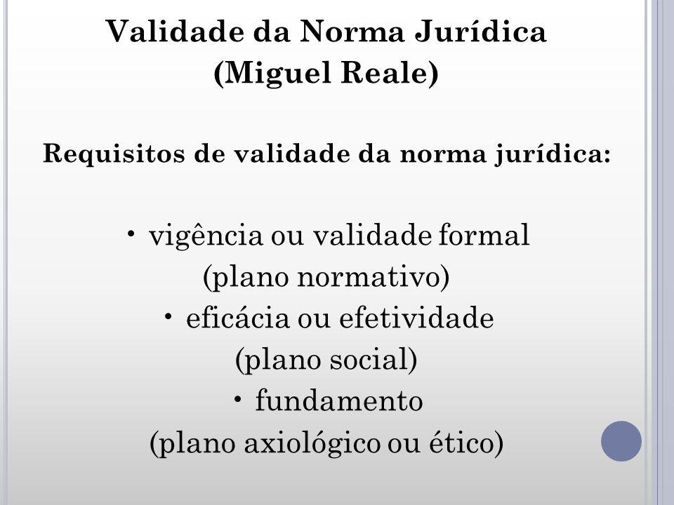 Validade da Norma Jurídica Requisitos de validade da norma jurídica: