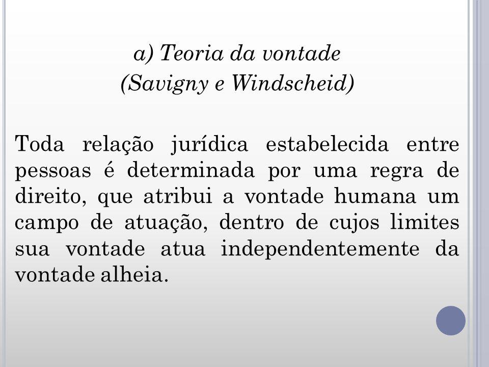 a) Teoria da vontade (Savigny e Windscheid) Toda relação jurídica estabelecida entre pessoas é determinada por uma regra de direito, que atribui a vontade humana um campo de atuação, dentro de cujos limites sua vontade atua independentemente da vontade alheia.