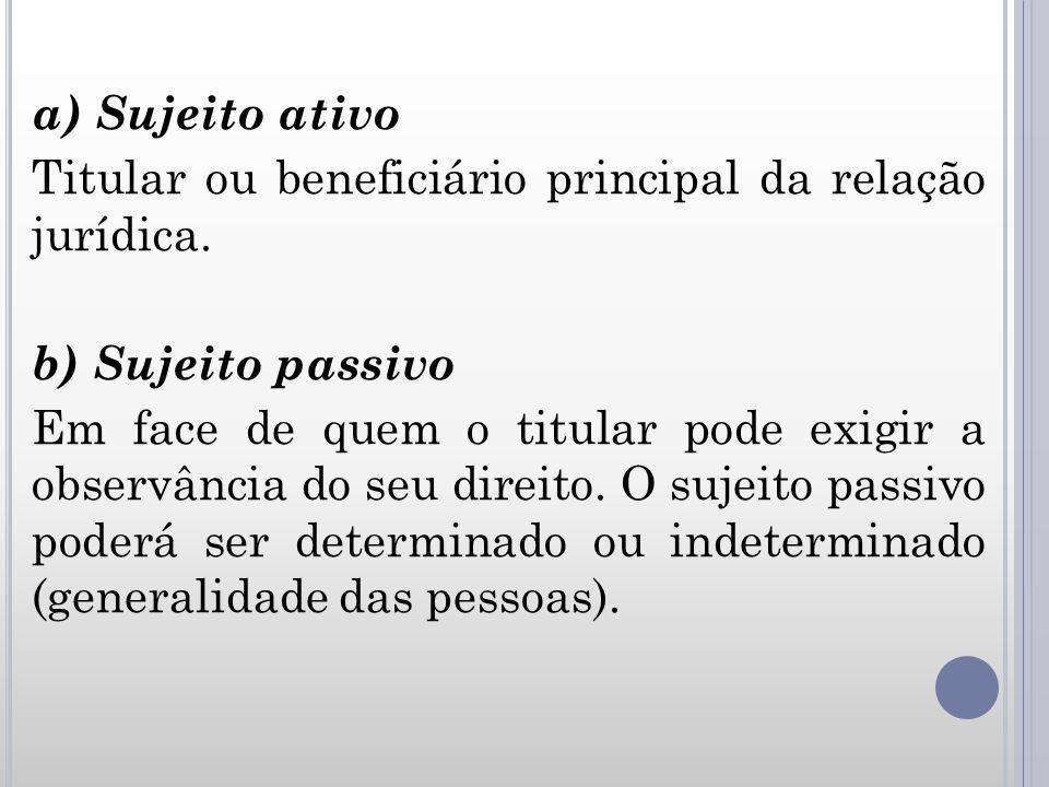 a) Sujeito ativo Titular ou beneficiário principal da relação jurídica