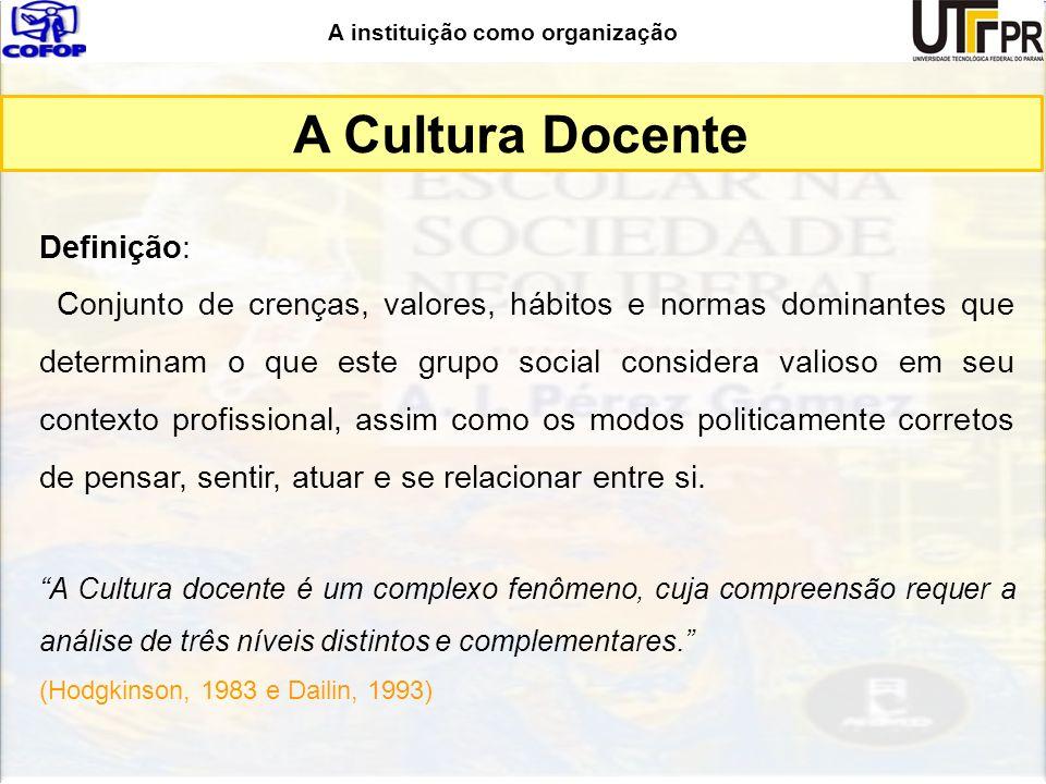 A Cultura Docente Definição:
