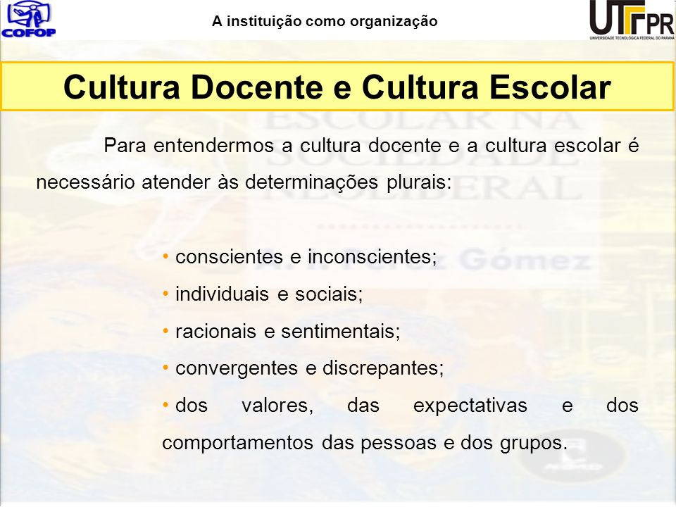 Cultura Docente e Cultura Escolar