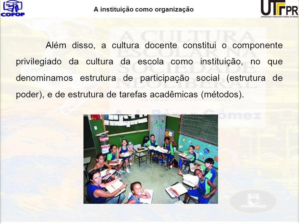 Além disso, a cultura docente constitui o componente privilegiado da cultura da escola como instituição, no que denominamos estrutura de participação social (estrutura de poder), e de estrutura de tarefas acadêmicas (métodos).