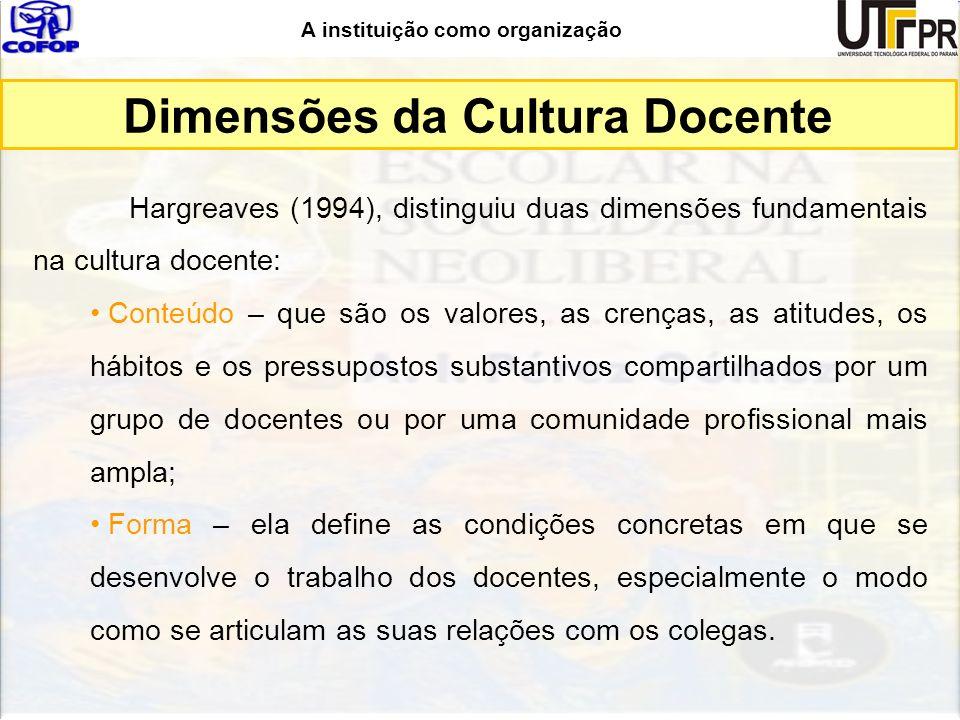 Dimensões da Cultura Docente