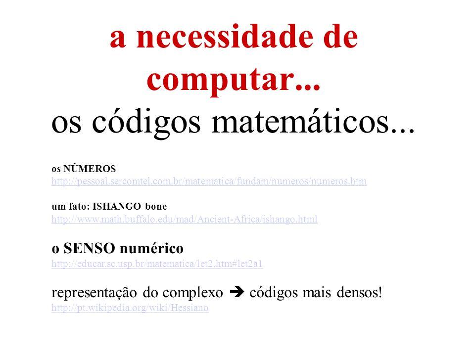 a necessidade de computar... os códigos matemáticos...